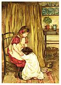 The little girl cries on a lap of elder sister