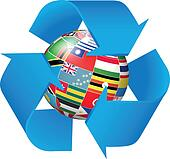 Recycling symbol with flags globe