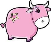 Cute Girl Pink Cattle Cow Vector