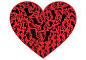 red shoe heart, vector