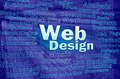 Web design concept in blue virtual space