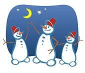 three snowballs and moon