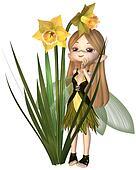 Cute Toon Daffodil Fairy, Standing