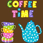 Coffee time with stacked colorful cups and coffee pot