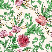 seamless pattern with roses decorated with green leaves