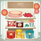 vintage postcard - shop sweets,  confectionery