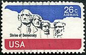UNITED STATES OF AMERICA - CIRCA 1974: A stamp printed by USA shows Mount Rushmore National Memorial, circa 1974