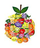 Funny fruit characters smiling together, apple shape for your design