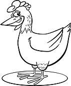 Cartoon hen coloring page