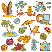 Seaside doodles - Hand drawn collection in vector