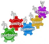 Synergy Partners Working Together in Teamwork for Success