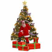 Santa Claus with tree and presents