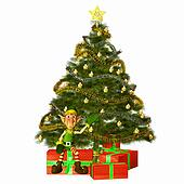 Christmas Elf with tree & presents