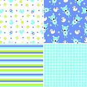 Seamless background patterns for a baby boy