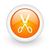 scissors orange glossy web icon on white background