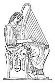 Woman playing the harp, vintage engraving.
