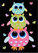 three colorful cute owls