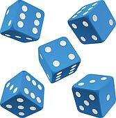 Blue dice set. Vector icon