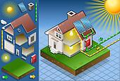 Isometric house with solar panel