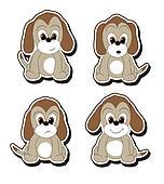 Cartoon pup stickers