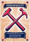 Two retro hammers tool shop poster