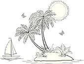 Island with palm and ship contours