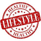 Healthy lifestyle red round grungy vintage rubber stamp