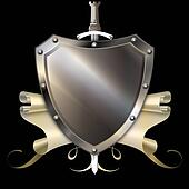 Shield with sword and parchment.