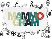 Medicine concept: Mammogram on Torn Paper background