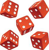 Red rolling dice set