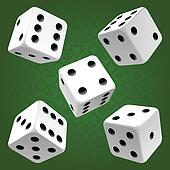 White rolling dice set
