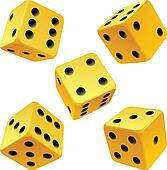 Yellow rolling dice set.