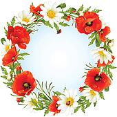Vector camomile and poppy frame in