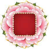 Vector pink Rose circle frame