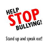 Stop bullying black and red sign
