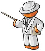 Orange Man Teacher Or Professor Giving Tutorial Seminar