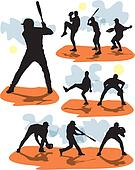 set vector baseball silhouettes