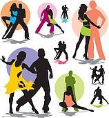 set vector dance couple silhouettes
