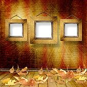 The fallen leaves on the background wall with vintage wallpaper