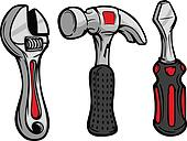 Cartoon Wrench Hammer Screw Driver