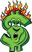 Burning Money Cartoon Face
