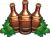 Beer bottles and hop leaves
