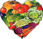Vegetables in the shape of heart.