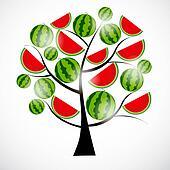 Tree from watermelon. Vector illustration.