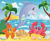 Beach theme scenery 3