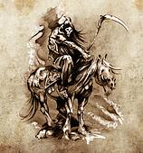 Sketch of tattoo art, medieval warrior with horse