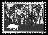 silhouette of the wild boar in wood on postage stamps, vector i