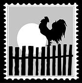 silhouette of the cock on postage stamps, vector illustration