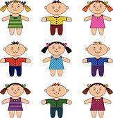 Children, boys and girls, set
