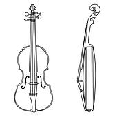violin silhouette on white background,